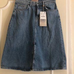 Zara heritage denim skirt